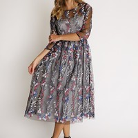 Floral Vision Embroidered Overlay Dress | Ruche