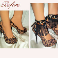 Pair Leopard Print With Black Fringe Ankle Glams, Ankle Bracelets, Anklets Cuffs, Barefoot Sandals, Sexy Accessories, Shoe & Leg Accessories
