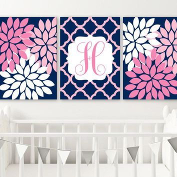 Navy Pink Flower Girl Monogram Wall Art, Baby Girl Nursery Wall Art, Navy Pink Girl Monogram Bedroom Wall Decor, Set of 3 Canvas or Prints
