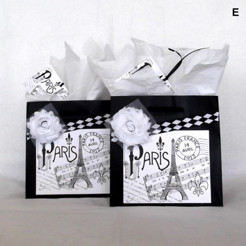 French Euro Style Black and White Paper Gift Bag Set with Paris Eiffel Tower Labels, Fabric Flowers, & Matching Tags