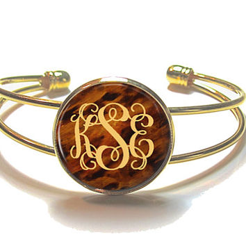 Tortoise Shell Monogram Bracelet, Monogram Bangle, Monogram Jewelry, Bridesmaid Gift, Personalized Bracelet - Style 493