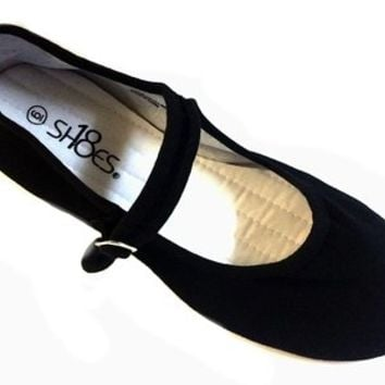 Shoes 18 Womens Cotton China Doll Mary Jane Shoes Ballerina Ballet Flats Shoes 11 Colors (8, 118 Black Micro Suede)