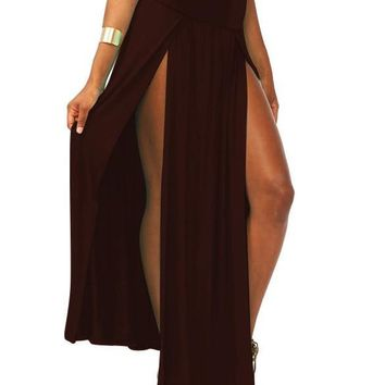 New Popular Trends High Waisted Double Slits Long Skirt Sexy Women Maxi Skirt