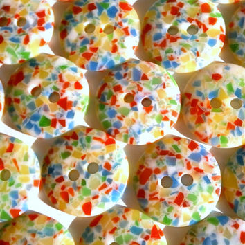 Rainbow Mosaic Buttons - Lot Of 10 Small Colorful Vintage Buttons