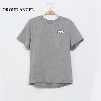 PROUD ANGEL 2017 Summer T-shirt Women Printed Pocket Cat Cute Top Tee Casual Tees Cotton Female Clothing T Shirt