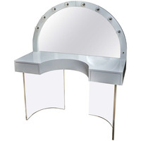 Attractive Vintage White Lacquer Vanity with Attached White Lacquer Mirror