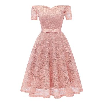 Off the Shoulder Short Sleeves Women Pleated Knee-length Lace Dress