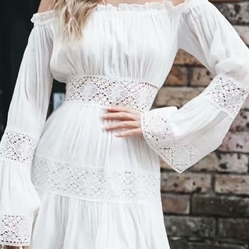 Catch My Drift White Lace Long Bell Sleeve Off The Shoulder Flare A Line Casual Mini Dress