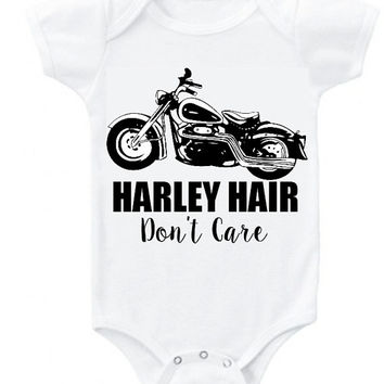 Harley Hair Don't Care biker motorcycle vintage graphic baby girl boy bodysuit clothes Onesuit or organic cotton toddler T shirt