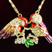 Betsey Johnson Enamel and rhinestone love bird necklace