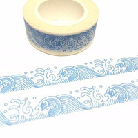 blue wave washi tape 10M Asian traditional art pattern Japan wave painting ocean wave drawing deco masking tape blue tape scrapbook wrapping