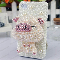 iphone 4 case Cute pig   ivory pearls iphone 4 4s case iphone 5 case Samsung galaxy s2 s3 s4 note 2 case Blackberry
