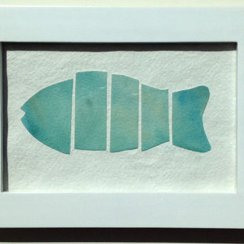 Painting of Fish, Original, Watercolor, Abstract Fish in Seaside Colors, #2, Painted White Wood Frame, Not a Print