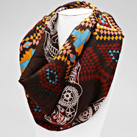 Sugar Skulls Aztec Infinity Scarf Day of the Dead Wrap - Brown