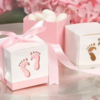 Pink Baby Shower Box Kit for Baby Girl with Baby Feet Cut Out. Makes 12 Boxes - Includes Pink Satin Ribbon Ties by Unknown