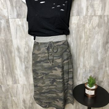 Do Your Own Thing Camo Midi Skirt