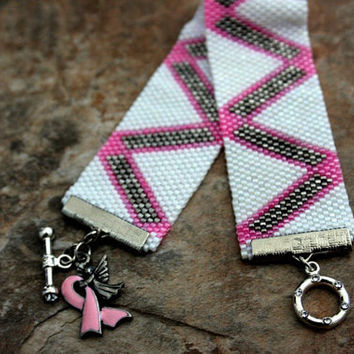 Beadwork Bracelet to Remember Breast Cancer Awareness Peyote Beaded