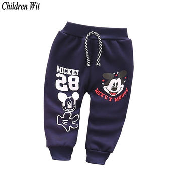 2016 autumn winter new cotton and wool Warm  Korean cartoon style harem pants baby pants 0-2 year kids baby boy girs pants