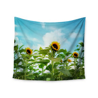 "Sylvia Cook ""Sunflower Field"" Blue Green Wall Tapestry"