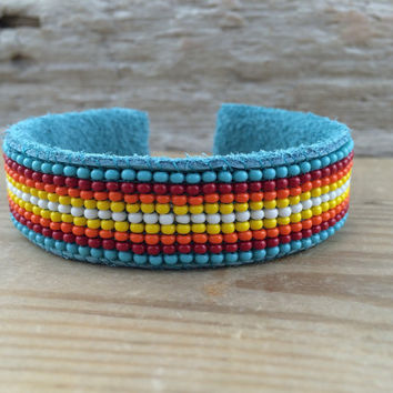 Beaded Leather Cuff Bracelet/ Leather Cuff Bracelet/ Beaded Cuff Bracelet/ Cuff Bracelet/ Genuine Leather/ Czech Glass / Peyote Stitch/ Boho