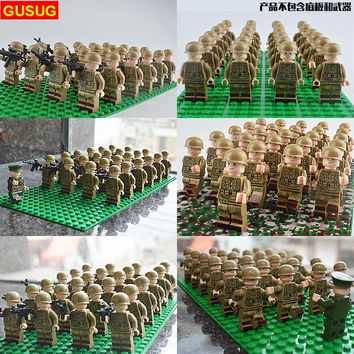 GUSUG 24PCS Military Team City Police Armed Assault Army soldiers With Weapons Guns Figure WW2 World War Blocks Gift Baby Toys