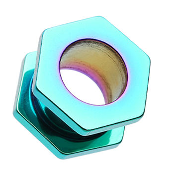 Colorline Hexa Bolt Screw-Fit Ear Gauge Tunnel Plug