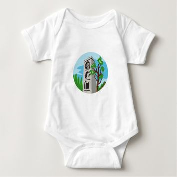 Medieval Bell Tower Circle Retro Baby Bodysuit