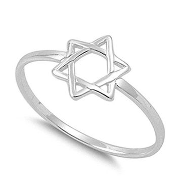 Star of David Religious Unique Ring New 925 Sterling Silver Band Sizes 213
