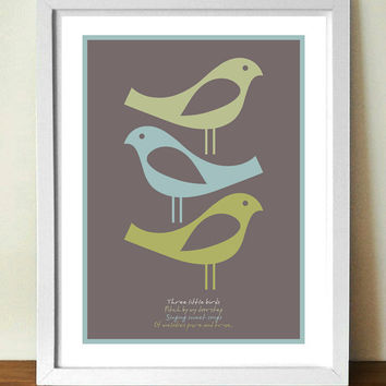BOB MARLEY Three Birds lyrics poster, A3  giclée print