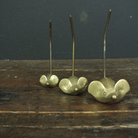 Vintage Mid Century Set of Brass Mice Ring Holder Reciept Paper Spike