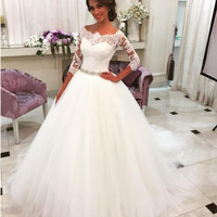 2016 Saudi Arabia Vestido De Noiva 2016 Lace Three Quarter Muslim Wedding Dresses Bridal gown Tulle Ball Gown Wedding Dress wjt