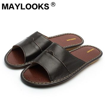 Leather home cowhide men summer leather cool slippers beef tendon bottom 8001