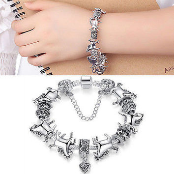 Women Silver Animal Bracelet Glass Beads Bracelets Horse Bangle Nice Jewelry