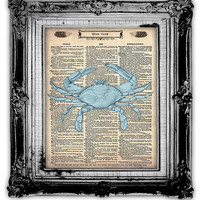 Upcycled Vintage Dictionary Book Page Art Blue Crab by FoxHunterStudios