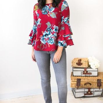 On Your Roam Time Red Floral Bell Sleeve Top