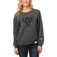 Diamond Supply Girls Big Brilliant Charcoal Crew Neck Sweatshirt