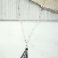 Clear Beaded Tassel Necklace