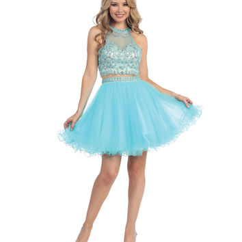 Aqua Beaded Halter Illusion Two Piece Tulle Short Dress 2015 Homecoming Dresses