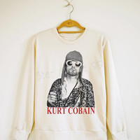 KURT COBAIN Shirt Nirvana Shirt Rock Sweater Shirt Sweatshirt Tee Shirt Jumpers Shirt Long Sleeve Shirt Women Shirt Unisex Shirt SizeS,M,L