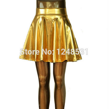 2016 lady skater skirt above knee mini skirt metallic liquid skirt S/M/L/XL