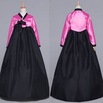 Black Asian Costume Korean Traditional Women Hanbok Lady National Dress Long Sleeve Female Korean Ancient  Costume Stage 16