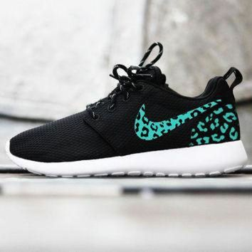 ONETOW Custom Nike Roshe Run sneakers, tiffany blue cheetah print, leopard print, womens cust
