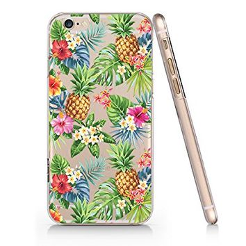 Tropical Flower Pineapple Pattern Transparent Plastic Phone Case for iphone 6plus _ SUPERTRAMPshop (iphone 6 plus)