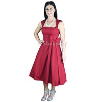 Rockabilly Vintage 60's Red Belted Bow Accent Flare Party Dress