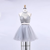 Two Pieces Short Homecoming Dresses with Halter Backless Crystal Beading Tulle Short Prom Dresses