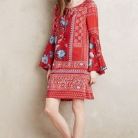Vanessa Virginia Belled Silk Peasant Dress in Red Motif Size: