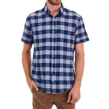 Diego Linen Plaid Button Down Shirt in Blue