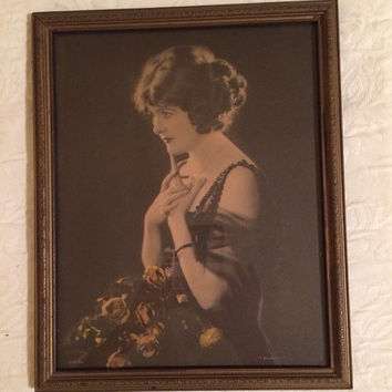 "Beautiful Vintage Framed Photo of Woman, titled ""I Wonder"""