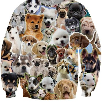 Puppies Collage Crewneck Sweatshirt
