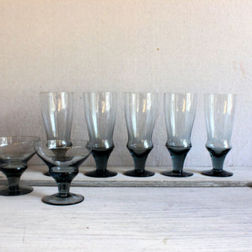 Set of 7 Smoky Midnight Blue Stemware : vintage
